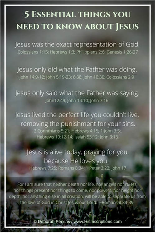 5 Essential Things You Need to Know About Jesus - article from Deborah Perkins of www.HisInscriptions.com #Easter #Jesus #Bible #God