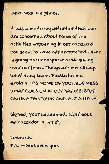 Nosy Neighbor Letter