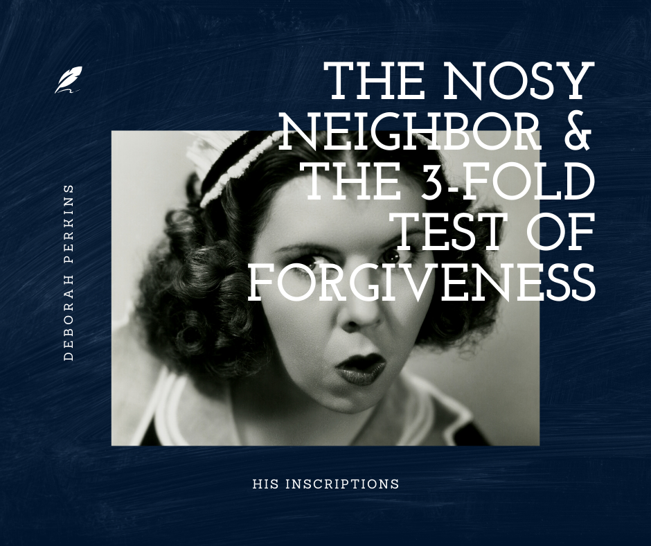 Nosy Neighbor : A Three-Fold Test of Forgiveness , by Deborah Perkins of HisInscriptions.com